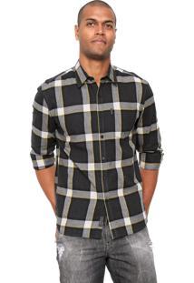 Camisa Ellus 2Nd Floor Steve Check New Classic Preta/Amarela/Cinza