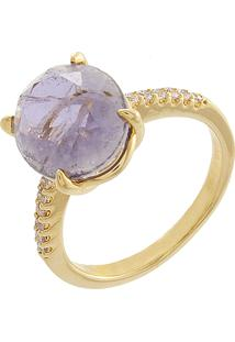 Anel Narcizza Semijoias Pedra Oval Ametista E Detalhes Em Micro Zircônia Cristal Ouro