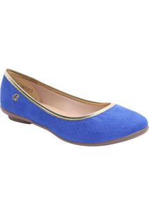 Sapatilha Em Couro Com Vivo- Azul Royal & Douradacarmen Steffens