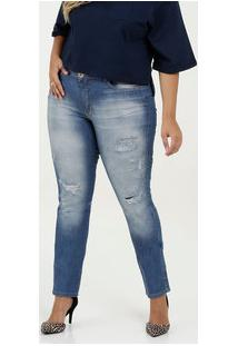 Calça Feminina Jeans Destroyed Plus Size Razon