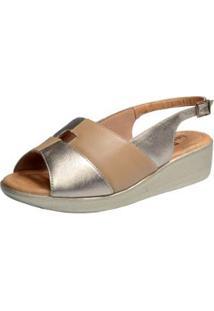 Sandália Confort Em Couro Feminino - Feminino-Dourado