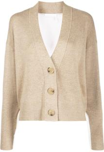 See By Chloé Button Up Bi-Colour Cardigan - Neutro