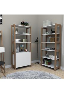 Conjunto Home Office Com Estante Alta 5 Prateleiras E Armário Multiuso Trend Bliv - Branco E Castanho