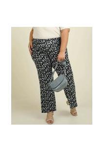 Calça Plus Size Feminina Pantalona Liganete Floral