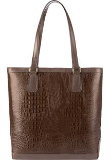 Bolsa Shopper De Couro Esther Chocolate