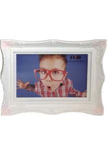 Porta Retrato Retrô De Plástico Branco 10 X 15 Cm 99574