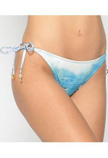 Calcinha Tanga Com Franzidos - Off White & Azul - Lalanã§A Perfume