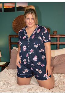 Pijama Com Botões Frontais Floral Azul