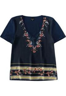 Blusa Floral Com Cetim Malwee Malwee Feminina - Feminino-Azul