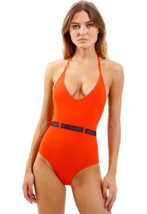 Body Rosa Chá Basic Elásticos 1 Beachwear Laranja Feminino (Pureed Pumpkin, M)