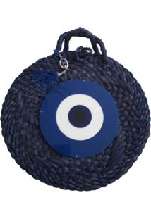 Bolsa De Palha Redonda Manoo Manoo Evil Eye Azul