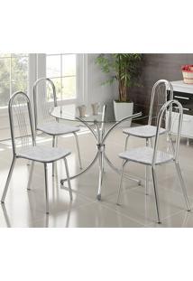 Mesa 375 Vidro Incolor Cromada Com 4 Cadeiras 182 Fantasia Branco Carraro