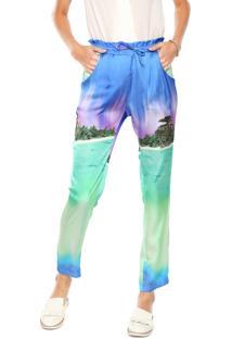 Calça Ellus 2Nd Floor Pijama Light Island Sport Azul/Verde/Roxa