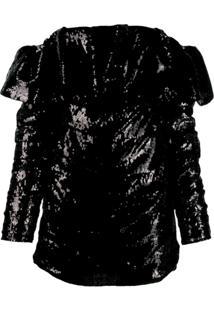 The Attico Vestido Ombro Único Com Paetês - Preto