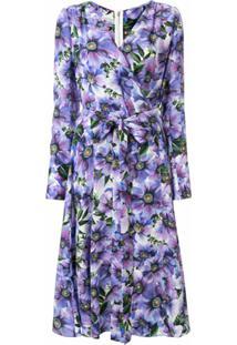 Dolce & Gabbana Vestido Envelope Gola V Com Estampa Floral - Roxo
