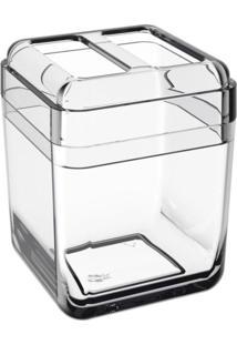 Porta-Escova Cube Com Tampa Cristal Coza