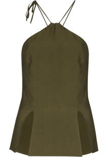 Matériel Blusa Frente Única Com Fenda - Verde