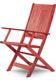 Cadeira Retangular Dobravel Acqualung+ C/ Braco Estrutura Vermelha 99Cm - 61639 - Sun House