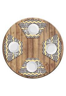 Jogo Americano Para Mesa Redonda Wevans Stripes Kit Com 6 Pçs Love Decor