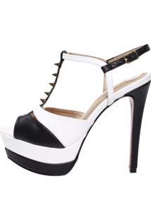 Sandália Week Shoes Meia Pata Preto/Branco Com Spikes