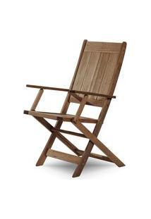 Cadeira Retangular Dobravel Acqualung+ C/ Braco Stain Nogueira 99Cm - 61638 Stain Nogueira