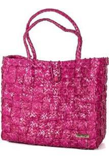 Bolsa Ana Viegas Tote-Shopper Palha Natural Forro Tecido Praia Feminina - Feminino-Pink