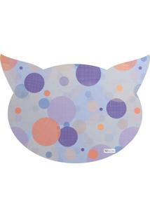 Tapete Pet Mdecore Cabeça De Gato Geométrico Colorido 54X39Cm