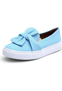Tênis Slip On Calzaph Laço Jeans Azul Bebê