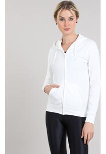 d1478e15c2 CEA. Blusão Feminino Esportivo Ace Em Moletom Com Capuz E Bolsos Off White