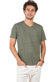 Camiseta Gola V Básica Vd Msg Taco Masculina - Masculino-Verde Escuro