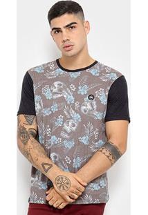 Camiseta Hd Skull And Flowers Masculina - Masculino-Azul
