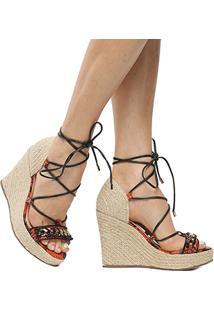 Sandália Couro Plataforma Shoestock Corrente Feminina - Feminino-Laranja+Preto