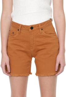 Bermuda Sarja Calvin Klein Jeans Reta Desfiada Caramelo