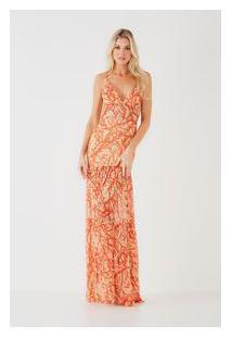 Vestido Longo Coral Bege