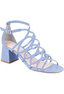 Sandália Bottero Salto Grosso Com Recorte A Laser - Feminino-Azul
