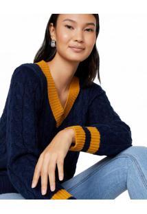 Amaro Feminino Suéter Trançado Gola Canelada, Azul Escuro