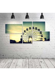 Quadro Decorativo - Sunlight-Retro - Composto De 5 Quadros - Multicolorido - Dafiti