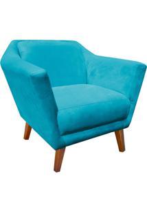 Poltrona Decorativa Lorena Suede Azul Tiffany - D'Rossi