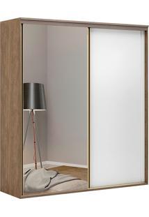 Guarda-Roupa Solteiro 2,07Cm 2 Portas C/ Espelho Inovatto Fosco-Belmax - Ebano / Branco