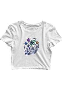 Blusa Feminina Cropped Tshirt Goup Girls Mão Caveira Planetas - Feminino