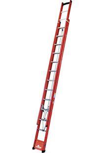 Escada De Fibra Extensiva 20 Degraus, Worker, 6793, Vermelho