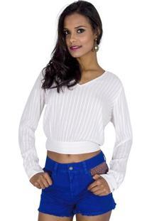 Blusa Cropped Viscose Handbook - Feminino-Off White