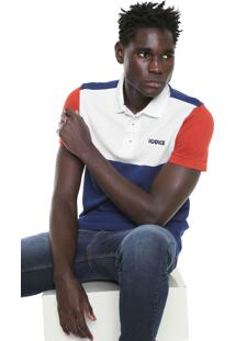 Camisa Polo Iódice Reta Logo Branca/Azul-Marinho