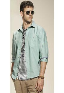 Camisa Manga Longa Masculina Slim Em Tecido De Algodão