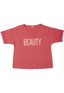 Blusa Rosa Beauty Com Renda