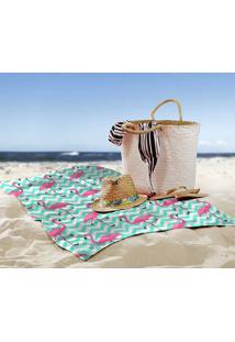 Toalha De Praia / Banho Flamingos Chevron