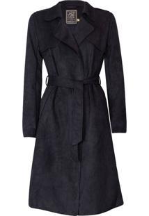Trench Coat Feminino Em Suede Com Amarraçáo