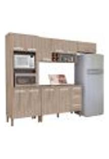 Cozinha Modulada Ametista 5 Módulos Composição 4 Nogal - Kit'S Paraná