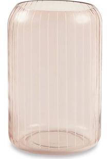 Vaso Listrado- Incolor & Nude- 27Xã˜18Cm- Martmart