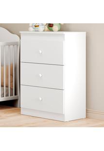 Cômoda De Bebê 3 Gavetas Ping Pong Flex Branco/Colorido - Multimóveis